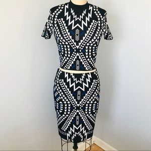 NWOT H&M Divided Aztec Print Stretch Top & Skirt